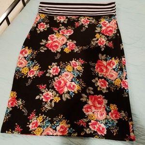 Adorable Agnes & Dora floral/stripe stretch skirt